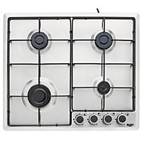 Bush BPGH60X Cast Iron Gas Hob - Stainless Steel.