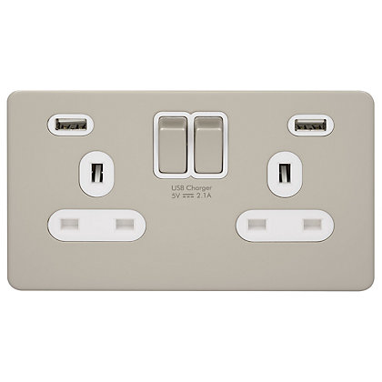 Image for Schneider Electric USB Socket 2 Gang Pearl - Nickel from StoreName