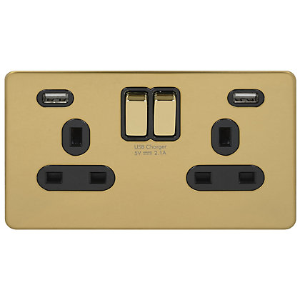 Image for Schneider Electric USB Socket 2 Gang Polished - Brass from StoreName