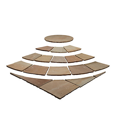 Image for Brett Natural Sandstone Paving Circle with Corners 2.48m 6.15sq m 73 Pack - Sunrise from StoreName