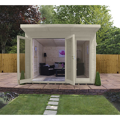 Image for Mercia Wooden Insulated Country Cream Painted Garden Room - 10ft 5in x 11ft 8in (with Installation) from StoreName