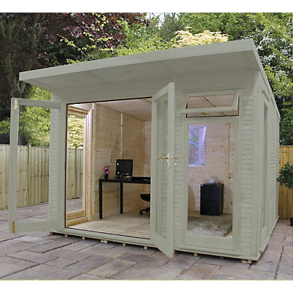 Image for Mercia Wooden Insulated Willow Painted Garden Room - 10ft 5in x 11ft 8in (with Installation) from StoreName