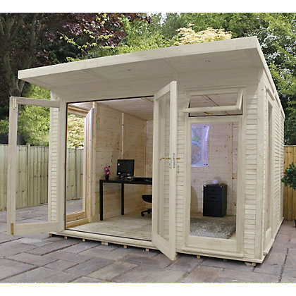 Image for Mercia Wooden Insulated Country Cream Painted Garden Room - 10ft 5in x 15ft (with Installation) from StoreName