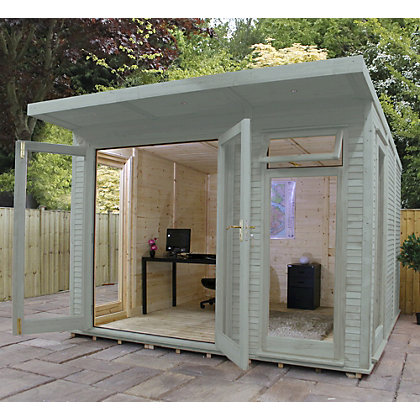 Image for Mercia Wooden Insulated Seagrass Painted Garden Room - 10ft 5in x 15ft (with Installation) from StoreName