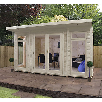 Image for Mercia Wooden Insulated Country Cream Painted Garden Room - 13ft 9in x 11ft 8in (with Installation) from StoreName