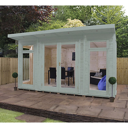 Image for Mercia Wooden Insulated Seagrass Painted Garden Room -  13ft 9in x 15ft (with Installation) from StoreName