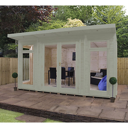 Image for Mercia Wooden Insulated Willow Painted Garden Room - 13ft 9in x 15ft (with Installation) from StoreName