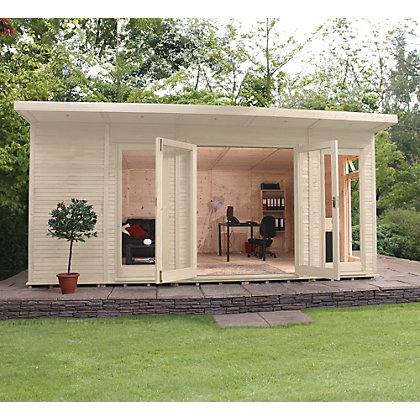 Image for Mercia Wooden Insulated Country Cream Painted Garden Room - 17ft x 11ft 8in (with Installation) from StoreName