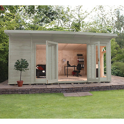 Image for Mercia Wooden Insulated Willow Painted Garden Room - 17ft x 11ft 8in (with Installation) from StoreName
