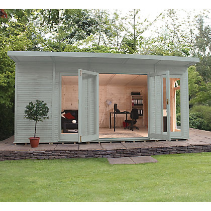 Image for Mercia Wooden Insulated Seagrass Painted Garden Room - 17ft x 15ft (with Installation) from StoreName