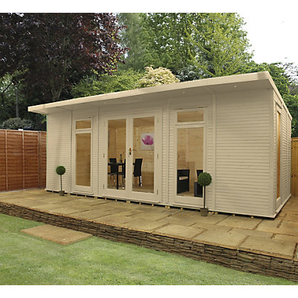 Image for Mercia Wooden Insulated Country Cream Painted Garden Room - 20ft 3in x 15ft (with Installation) from StoreName