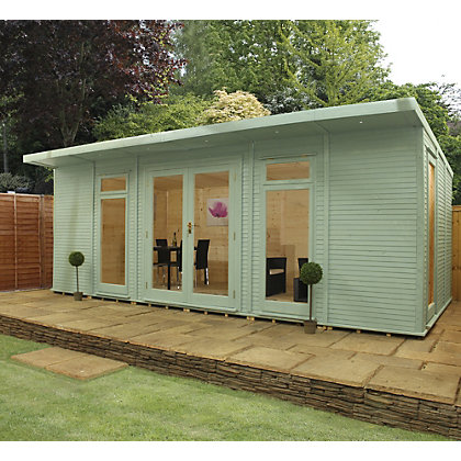 Image for Mercia Wooden Insulated Seagrass Painted Garden Room - 20ft 3in x 15ft (with Installation) from StoreName