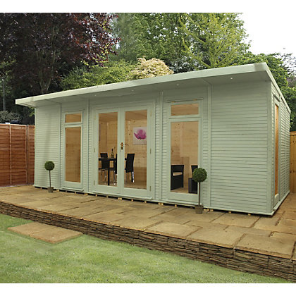 Image for Mercia Wooden Insulated Willow Painted Garden Room - 20ft 3in x 15ft (with Installation) from StoreName