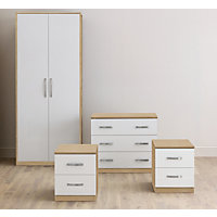 Oak & White Gloss Double Room Set