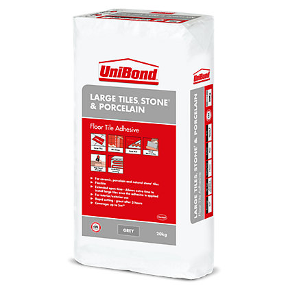 Image for UniBond Large Tiles, Stone & Porcelain Tile Adhesive 20Kg from StoreName