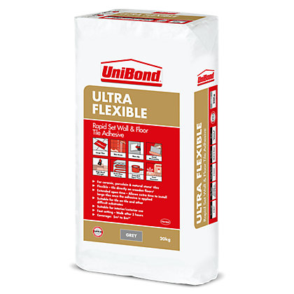 Image for UniBond Rapid Set Ultra Flexible Grey Tile Adhesive 20kg from StoreName