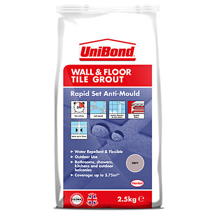 Image for UniBond Floor & Wall Tile Powder Grout Grey 2.5Kg from StoreName