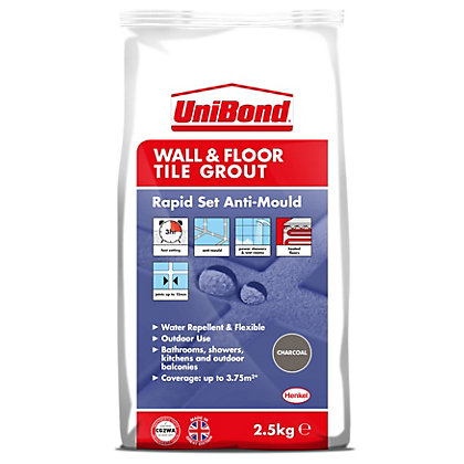 Image for UniBond Floor & Wall Tile Powder Grout Black 2.5Kg from StoreName