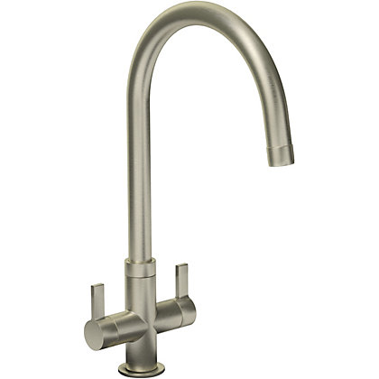 Image for Petite Dual Handle Monobloc Kitchen Tap - Brushed from StoreName
