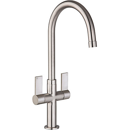 Image for Sleek Dual Handle Monobloc Kitchen Tap - Brushed from StoreName