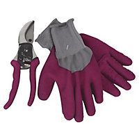 Secateurs and Gardening Gloves Mega Pack - Claret