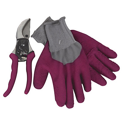 Image for Secateurs and Gardening Gloves Mega Pack - Claret from StoreName