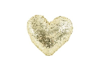 Image for Gold Heart Sequin Cushion from StoreName