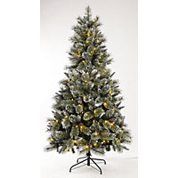 6ft Pre-Lit Shiny Silver Tipped Christmas Tree
