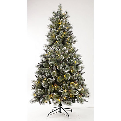 Image for 6ft Pre-Lit Shiny Silver Tipped Christmas Tree from StoreName