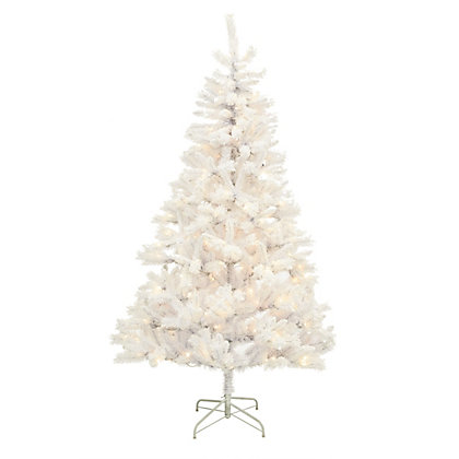 Image for 7ft Pre-Lit White Snowy Christmas Tree from StoreName