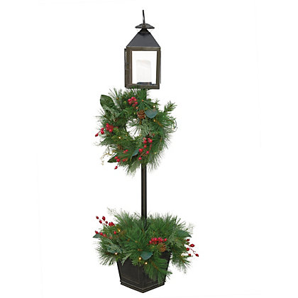 Image for 5ft Pre-Lit Lamp and Christmas Wreath from StoreName