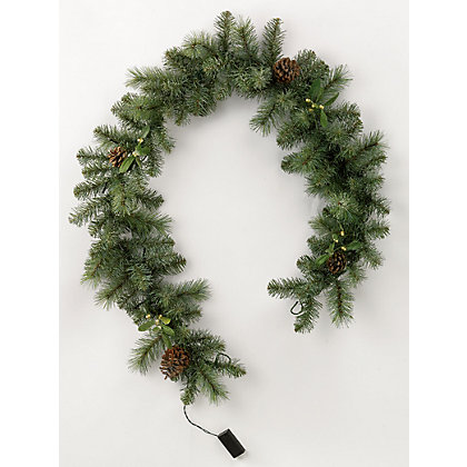 Image for Pre-Lit Mistletoe & Pinecone Garland from StoreName