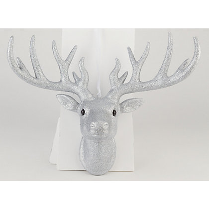 Image for Silver Glitter Hanging Stags Head from StoreName