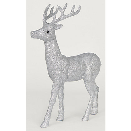 Image for Large Silver Glitter Stag from StoreName