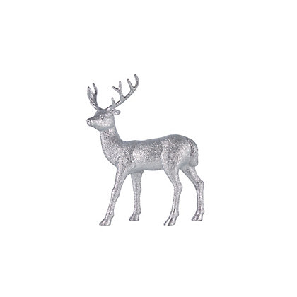 Image for Small Silver Glitter Stag from StoreName
