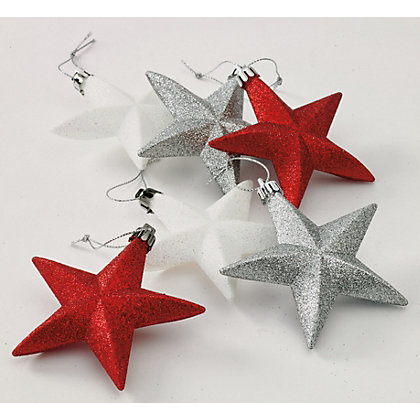 Image for Red White and Silver Glitter Stars 6 pack from StoreName