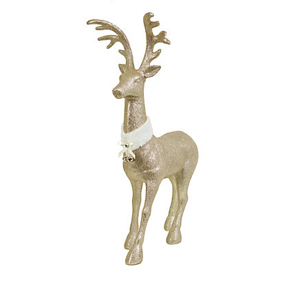 Image for Jumbo Champagne Glitter Stag with Fur Collar from StoreName