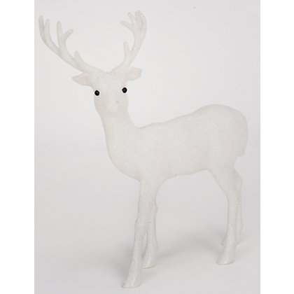 Image for Small White Glitter Stag from StoreName
