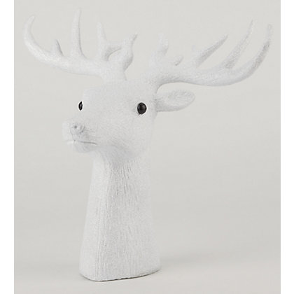 Image for White Glitter Standing Stags Head from StoreName