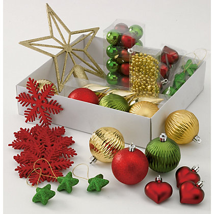 Image for Holly and Ivy Shatterproof Assorted Tree Decorations 52 pack from StoreName