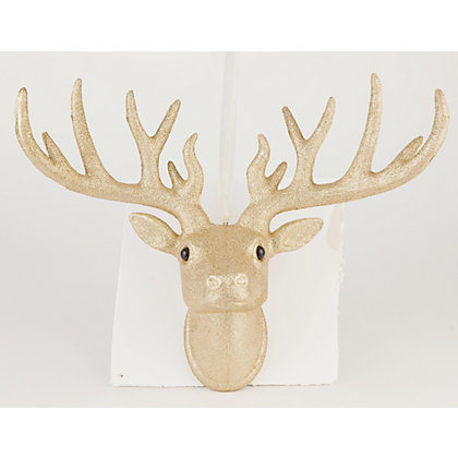 Image for Gold Glitter Hanging Stags Head from StoreName