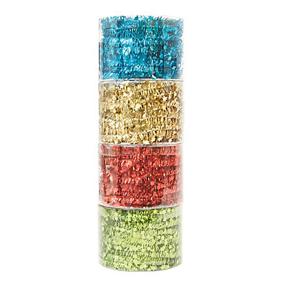 Image for Four Colour Tinsel Tie - Green, Red, Gold & Teal from StoreName