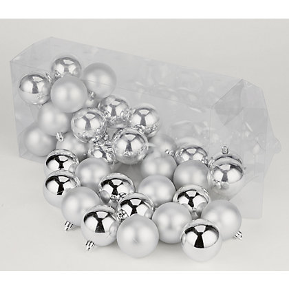 Image for Silver Shatterproof Christmas Baubles 36 pack from StoreName