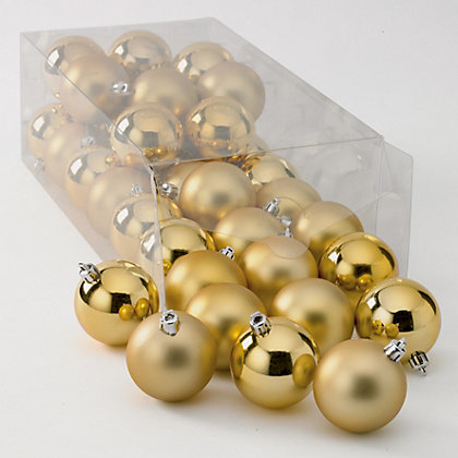 Image for Gold Shatterproof Christmas Baubles 36 pack from StoreName