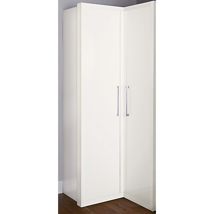Image for White & White Gloss Corner Wardrobe from StoreName