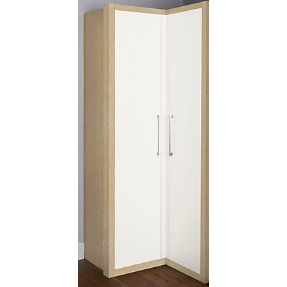 Image for Oak and White Gloss Corner Wardrobe from StoreName