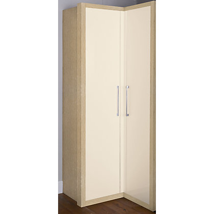 Image for Oak and Cream Gloss Corner Wardrobe from StoreName