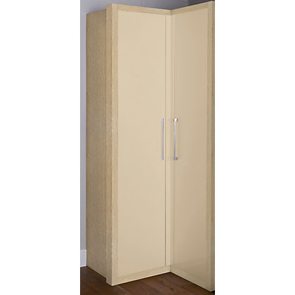 Image for Oak and Cappuccino Gloss Corner Wardrobe from StoreName