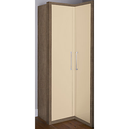 Image for Walnut and Cappuccino Gloss Corner Wardrobe from StoreName