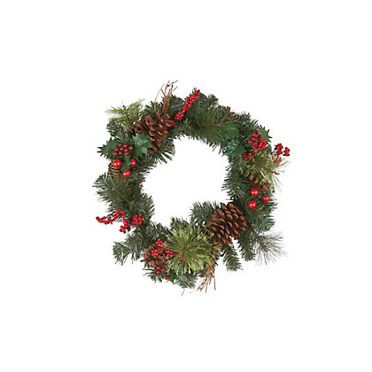 Image for Berries and Pinecone Christmas Wreath from StoreName